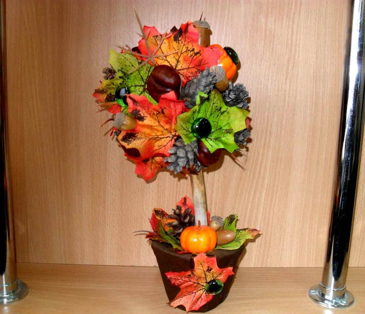 поделка дерево из природного материала на тему осень кактусов гостиной