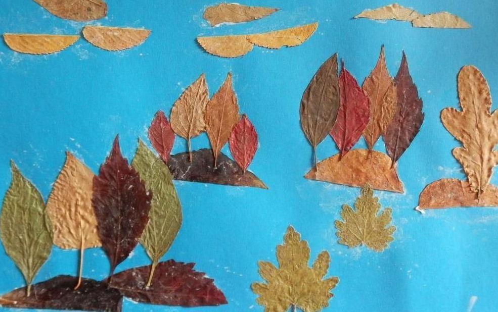 Поделка из листьев птицу 938