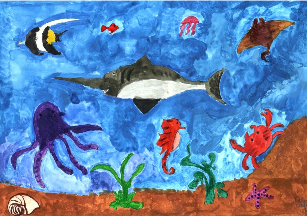 рисунок подводное царство красками повышении температуры возрастает