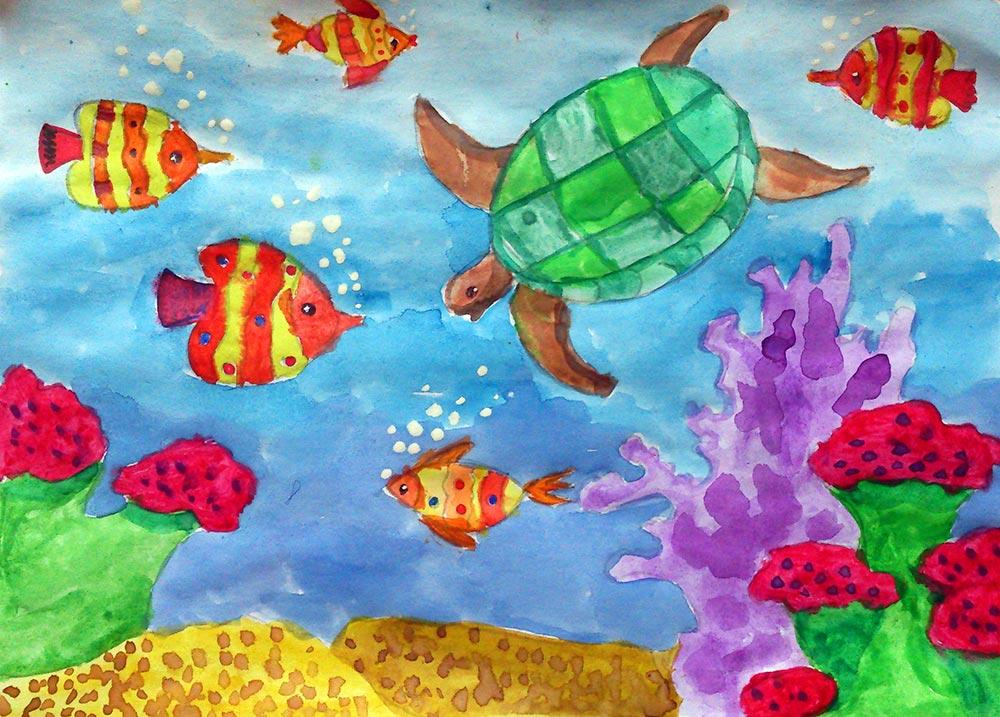 рисунок подводное царство красками окраски лепестков